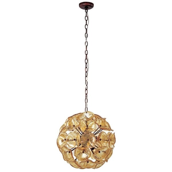 Cassini Bronze Metal 12-light Single Pendant