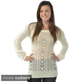 Leisureland Women's Open Knit Scoop Neck Sweater
