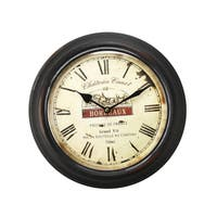 Adeco Black Vintage-inspired Round Wall Clock