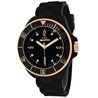 Seapro Women's  Bubble Round Black Strap Watch