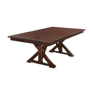 Furniture of America Descani Brown Cherry Dining Table with 18-inch Leaf