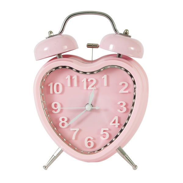 Adeco Pink Sweet Heart Vintage Inspired Table Top Alarm