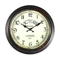 Adeco Black and Brown Antique-look Dial Decorative Vintage Retro Traditional Wall Hanging 'Victoria Station' Circle Iron Clock