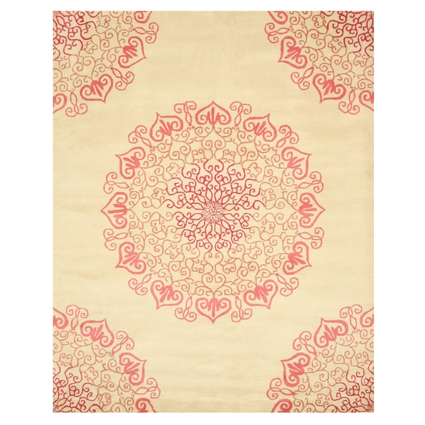 Nuloom Handmade Dotted Trellis Wool Kids Nursery Baby Pink: Hand-tufted Wool Red Transitional Oriental Modern Naiin
