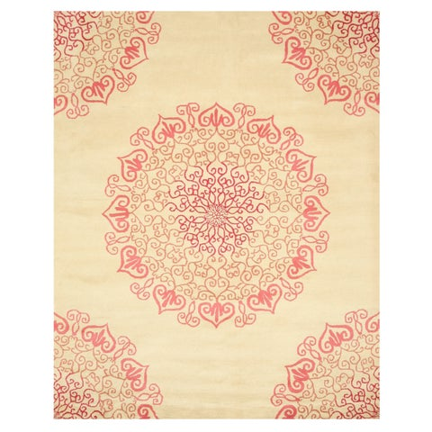 Hand-tufted Wool Red Transitional Oriental Modern Naiin Rug - 5' x 8'