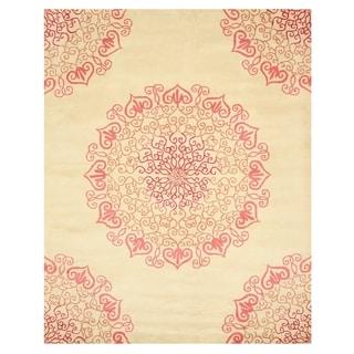 Hand-tufted Wool Red Transitional Oriental Modern Naiin Rug (5' x 8')