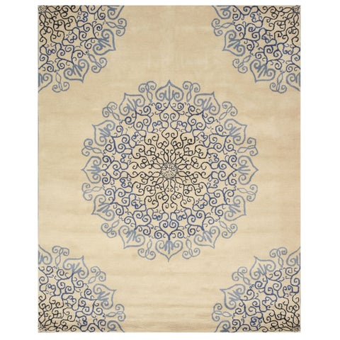 "Hand-tufted Wool Blue Transitional Oriental Modern Naiin Rug (7'9 x 9'9) - 7'9"" x 9'9"""