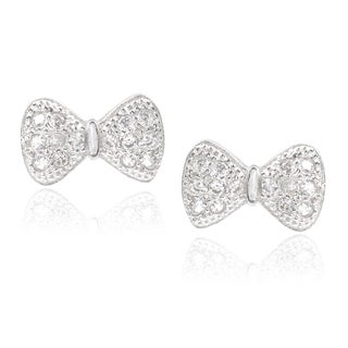 Journee Collection Sterling Silver Cubic Zirconia Bow Earrings