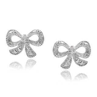 Journee Collection Sterling Silver Diamond Accent Ribbon Earrings