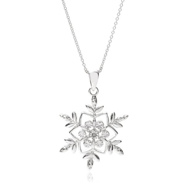 Journee Collection Sterling Silver Cubic Zirconia Snowflake Pendant