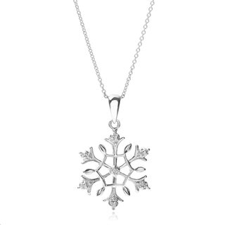 Journee Collection Sterling Silver Diamond Snowflake Pendant