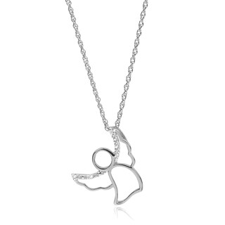 Journee Collection Sterling Silver Diamond Accent Angel Pendant
