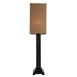 Amber Mosaic Glass with Bronze Table Lamp