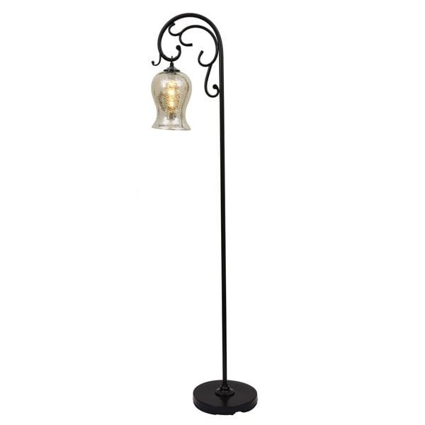 Textured bronze floor lamp with mercury glass globe free for Cirrus bronze floor lamp