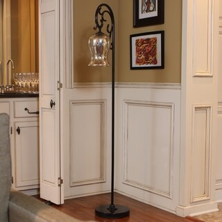 Textured Bronze Floor Lamp with Mercury Glass Globe