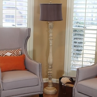 Antique Ivory Floor Lamp with Faux Silk Shade
