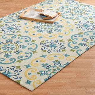 Hand-hooked Charlotte Ivory/ Light Blue Rug (5'0 x 7'6)