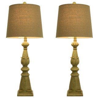 Spring Green Lamps with Linen Hardback Shade (Set of 2)
