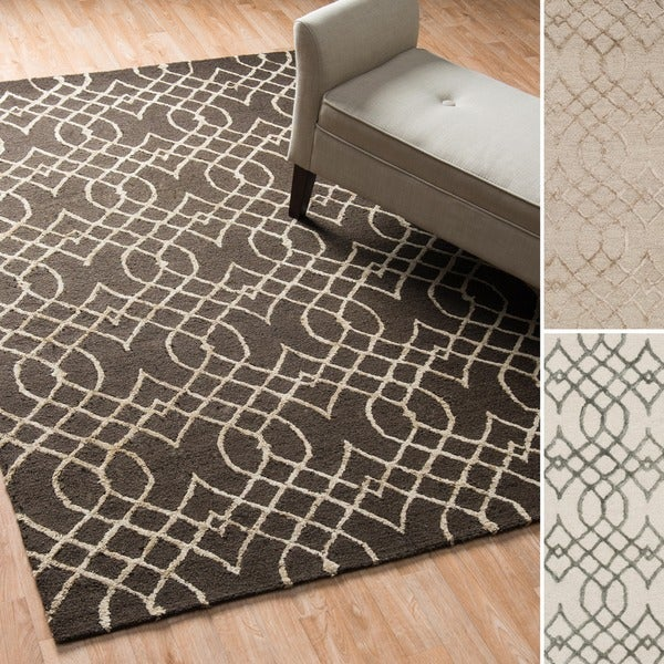 Hand-hooked Contemporary Curved Trellis Rug - 9'3 x 13'