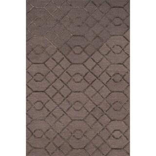 Hand-hooked Carolyn Raisin/ Coffee Lattice Rug (3'6 x 5'6)