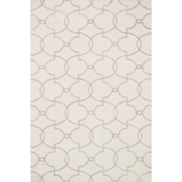 Hand-hooked Carolyn Ivory/ Silver Trellis Rug - 9'3 x 13'0