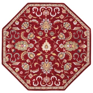 Hand Tufted Salvador Red Wool Octagon Rug (8'x8')