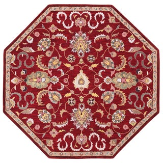 Hand Tufted Salvador Red Wool Octagon Rug (6'x6') - 6' x 6'