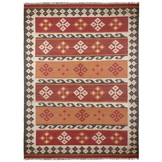 Hand-woven Jewel Wool Flat Weave Rug (10'x14')