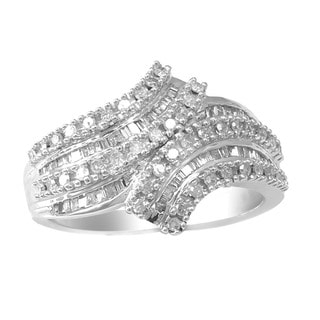 Sterling Silver 1/2ct TDW White Diamond Curve Ring (H-I, I2-I3)