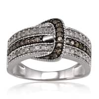 Sterling Silver 1/2ct TDW White and Brown Diamond Buckle Ring