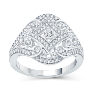 Sterling Silver 1/2ct TDW Diamond Floral Ring (H-I, I2-I3)