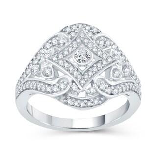 Sterling Silver 1/2ct TDW Diamond Floral Ring (H-I, I2-I3)