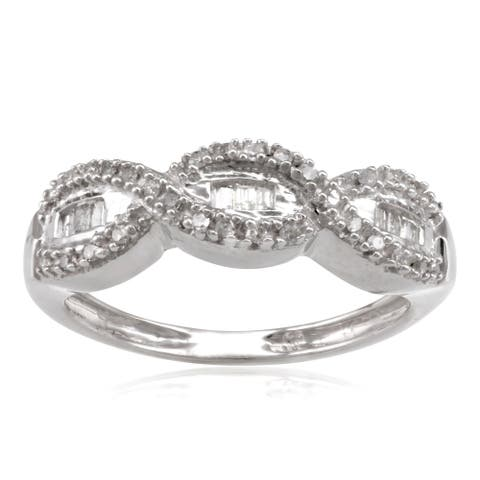 Sterling Silver 1/5ct TDW Diamond Woven Wedding Band