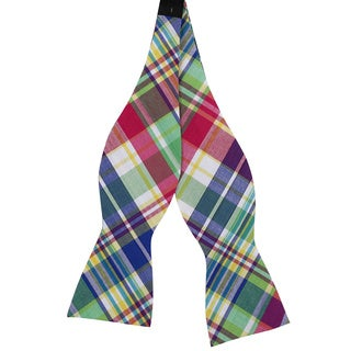 Skinny Tie Madness Men's Multicolored Plaid Cotton Bow Tie