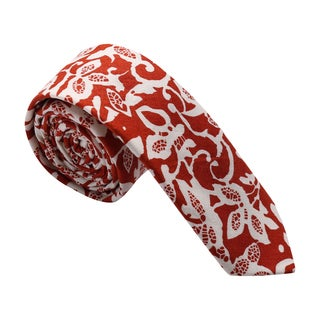 Skinny Tie Madness Men's Cotton Floral Print Red Skinny Tie