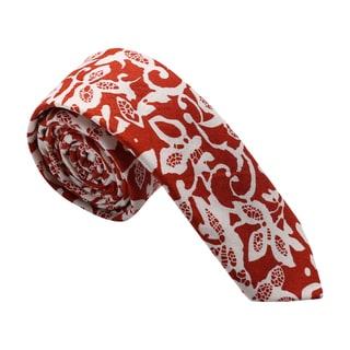 Skinny Tie Madness Men's Cotton Floral Print Red Skinny Tie