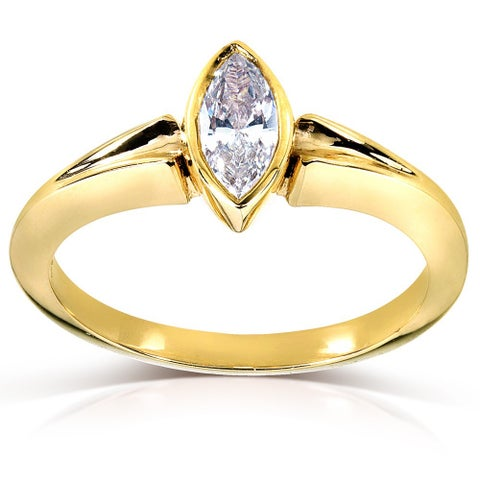 Annello by Kobelli 14k Yellow Gold 3/4ct TDW AGA-certified Marquise Diamond Solitaire Ring