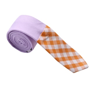 Skinny Tie Madness Men's Purple and Gingham Colorblocked Skinny Tie