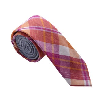 Skinny Tie Madness Men's Magenta Plaid Skinny Tie with Solid Backing