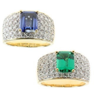 Michael Valitutti Created Emerald or Created Sapphire and Cubic Zirconia Ring