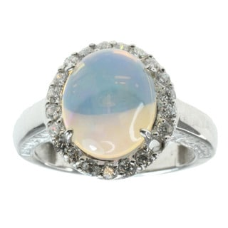 Michael Valitutti Sterling Silver Opal Ring