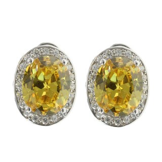 Michael Valitutti Sterling Silver and Cubic Zirconia Oval Halo Earrings