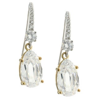 Michael Valitutti Sterling Silver and Cubic Zirconia Drop Earrings