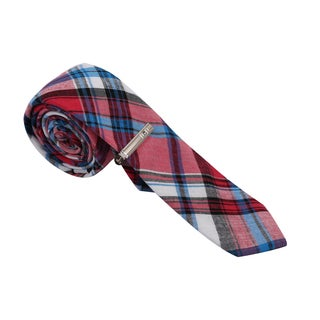 Skinny Tie Madness Men's Red and Aqua Plaid Skinny Tie with Tie Clip