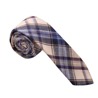 Skinny Tie Madness Men's Blue and Beige Cotton Plaid Skinny Tie