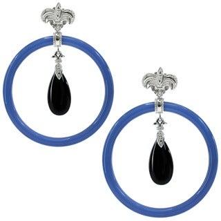 Dallas Prince Sterling Silver Blue Agate Onyx Earrings
