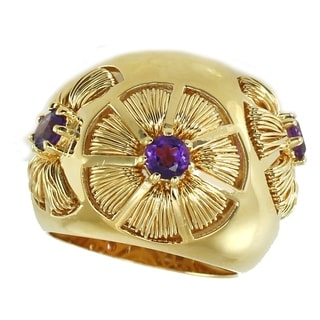 Michael Valitutti Gold Over Silver Amethyst Wire Wrapped Flower Dome Ring