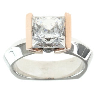 Michael Valitutti Sterling Silver Princess-cut Cubic Zirconia Ring
