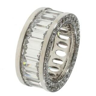 Michael Valitutti Sterling Silver Baguette-cut Cubic Zirconia Ring