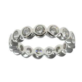 Michael Valitutti Sterling Silver Cubic Zirconia Eternity Ring